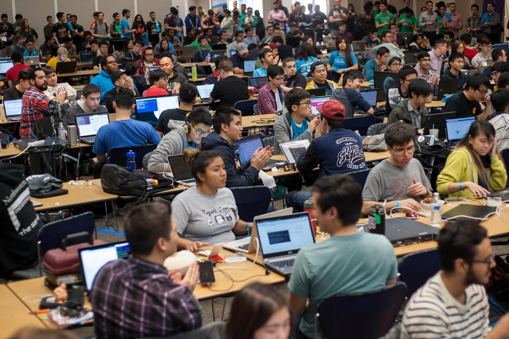 Students at the HackPoly hackathon