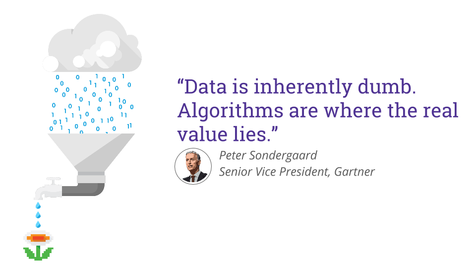 "Peter Sondergaard Senior Vice President, Gartner ""Data is inherently dumb. Algorithms are where the real value lies."""