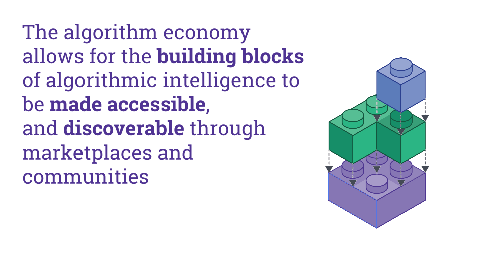The algorithm economy allows for the building blocks of algorithmic intelligence to be made accessible, and discoverable through marketplaces and communities