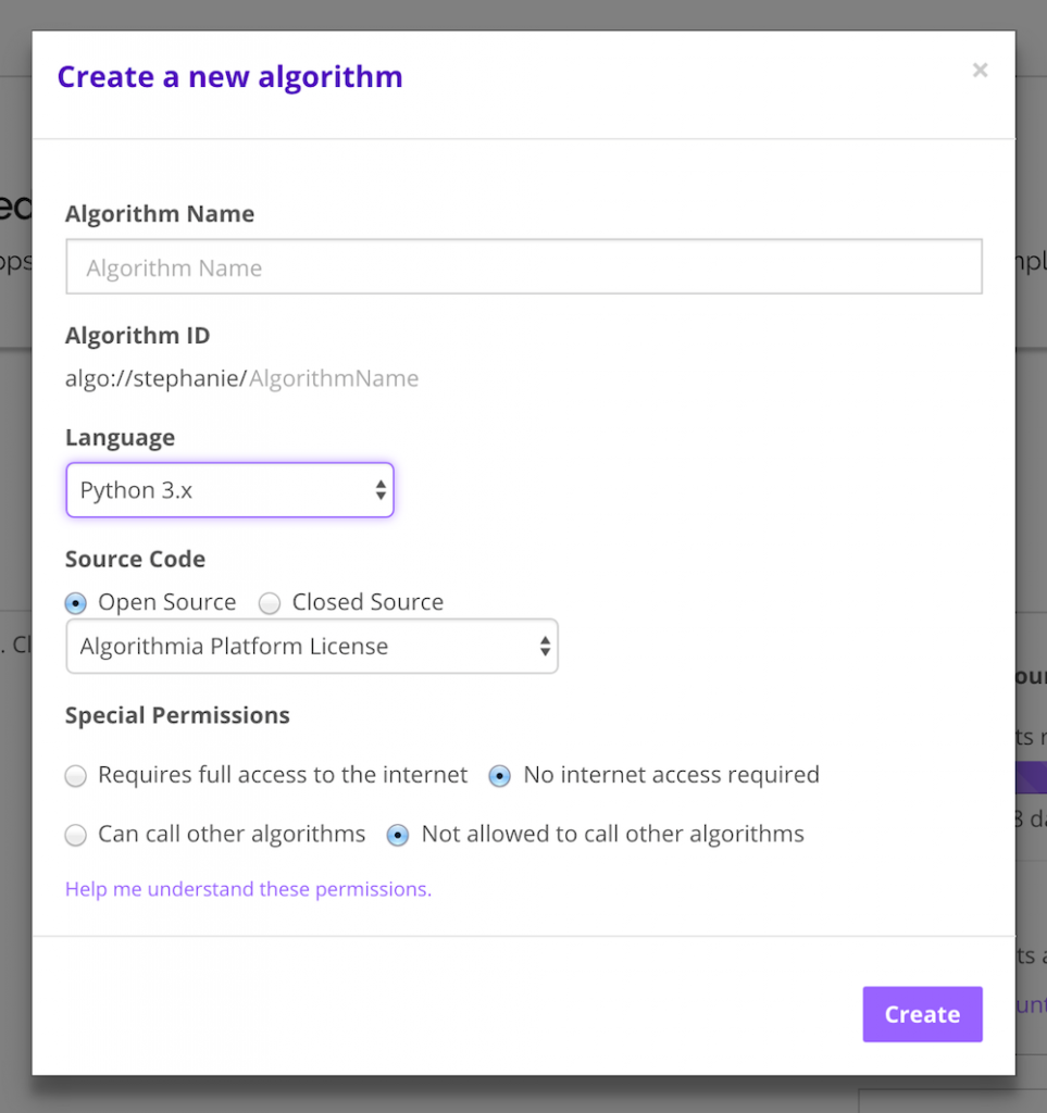 Create your algorithm and set permissions.