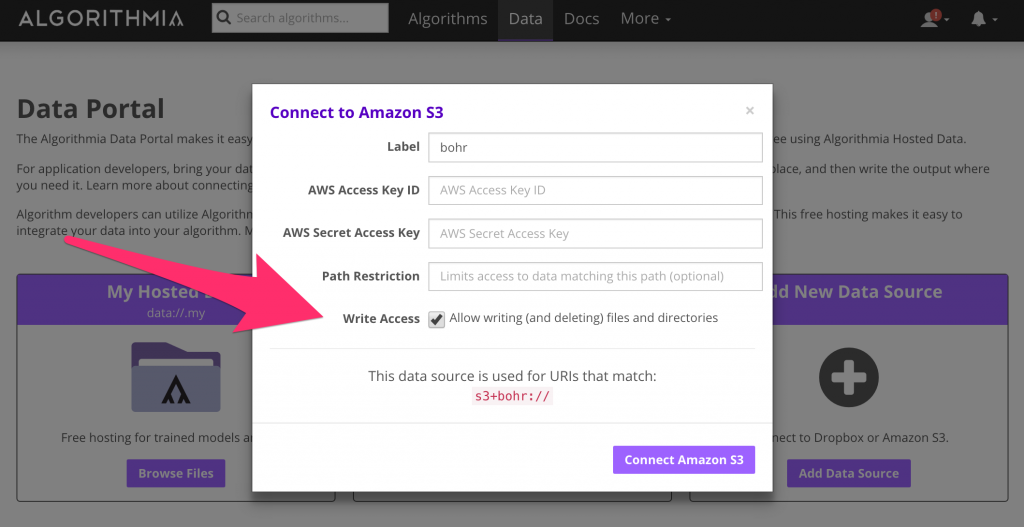 Connect to Amazon S3 with Algorithmia