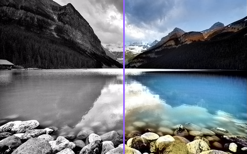 Colorized Lake, before and after