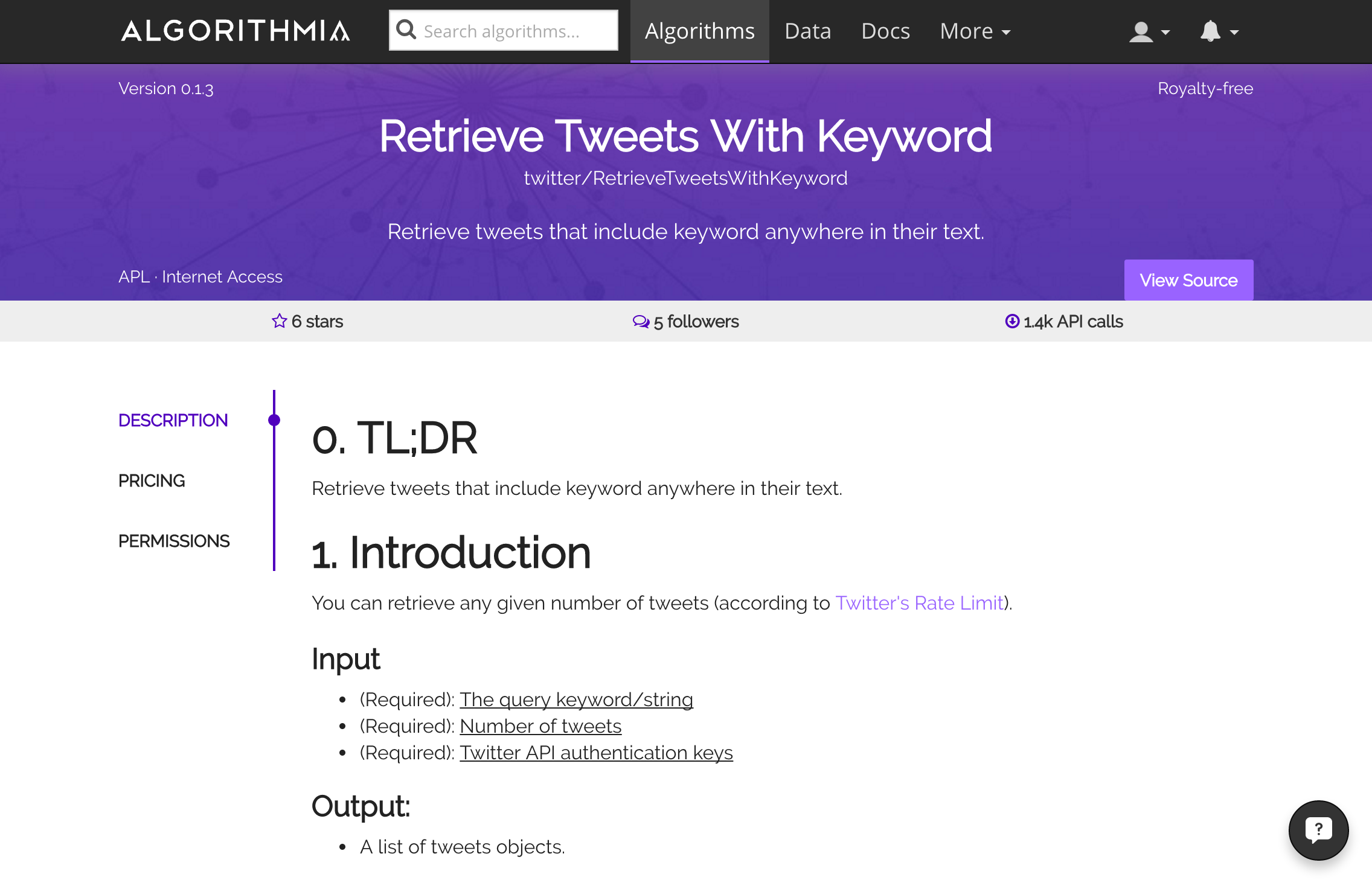 Retrieve Tweets With Keyword algorithm