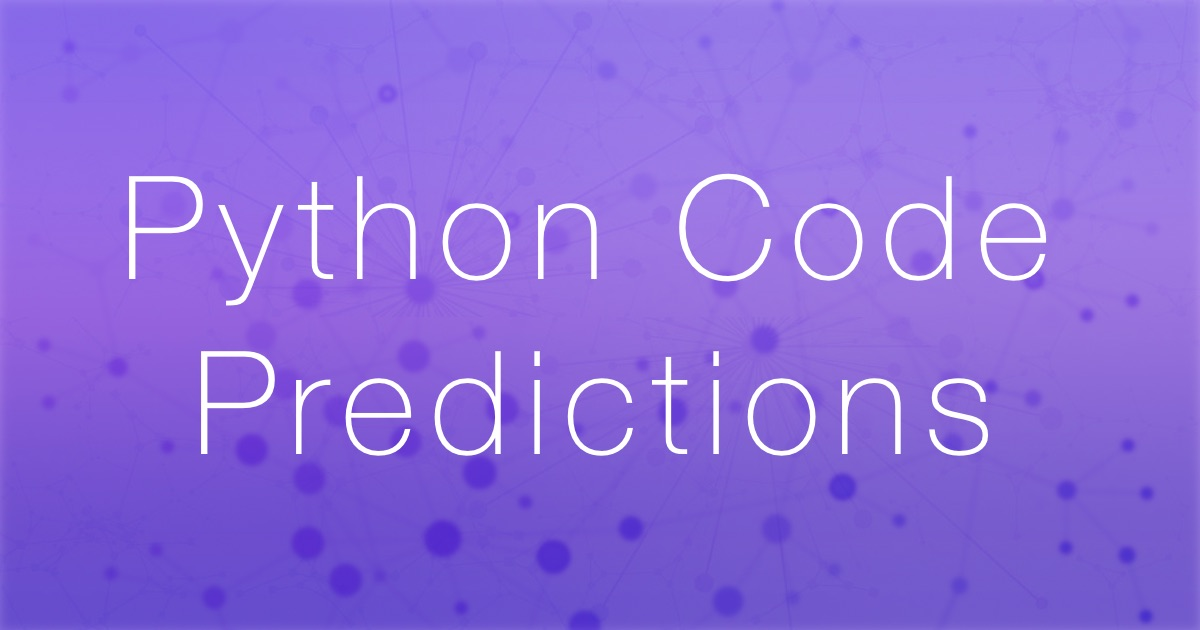 Algorithm for predicting Python code suggestions