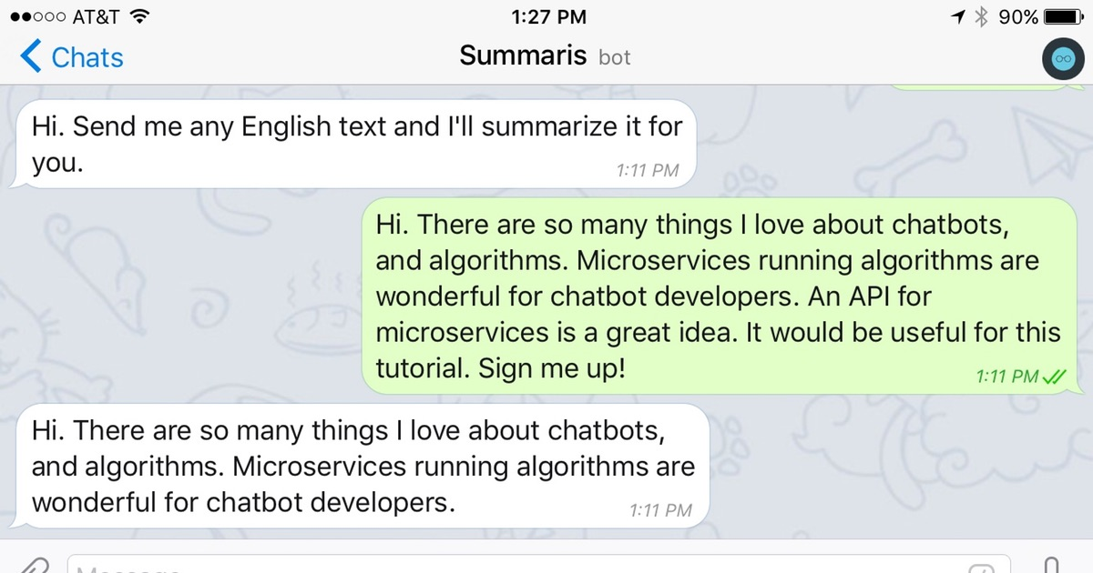 Build a chatbot using Algorithmia and Telgram