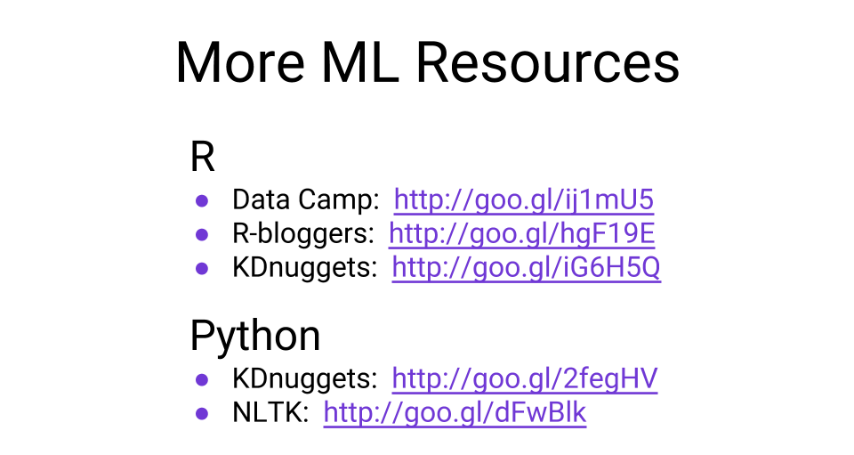 Machine learning resources