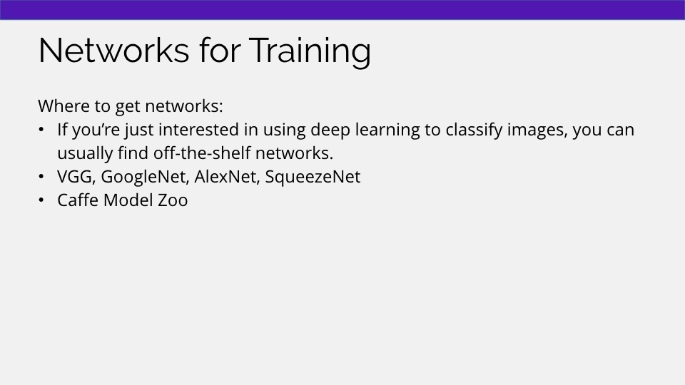 Machine learning networks for training