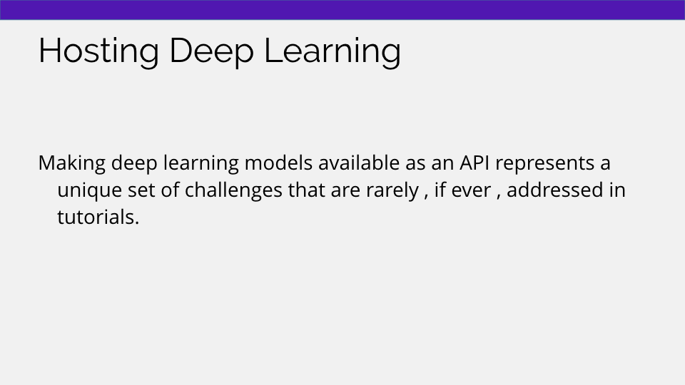 hosting deep learning as an api