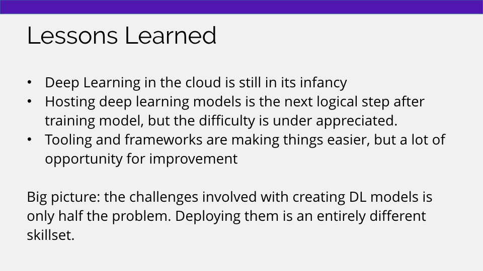 Lessons learned from deploying deep learning models as microservices