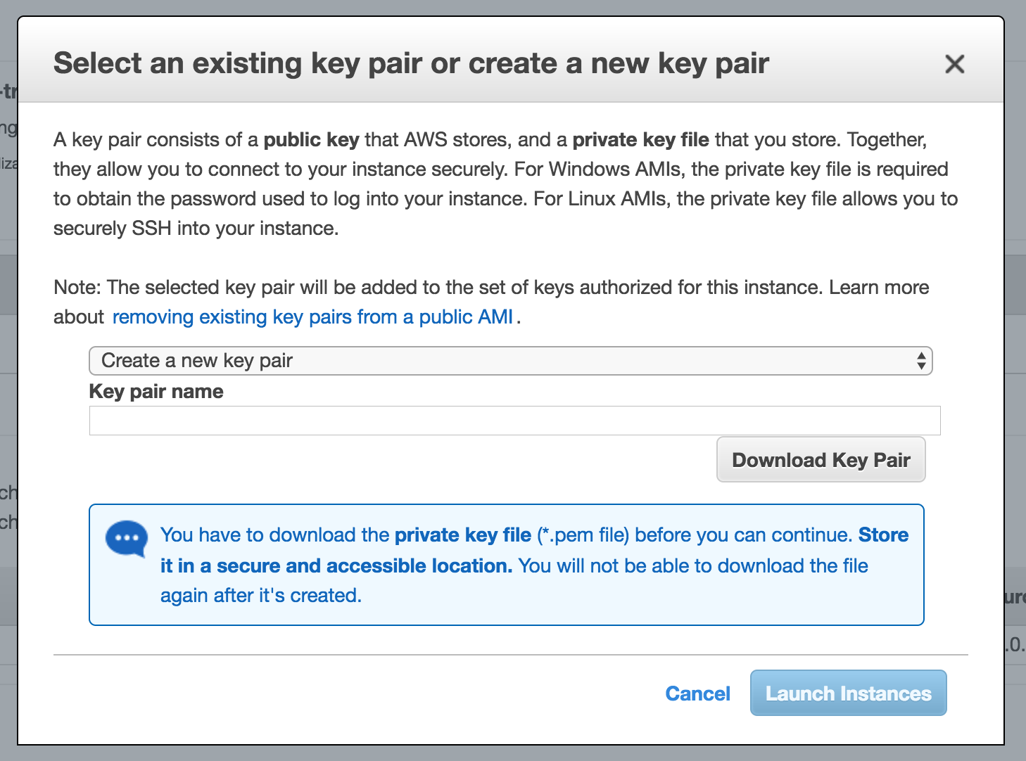 Set your AWS key pair
