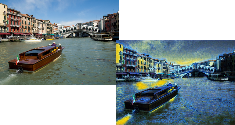 Van Gogh's Starry Night style to an image of the Grand Canal in Venice, Italy.