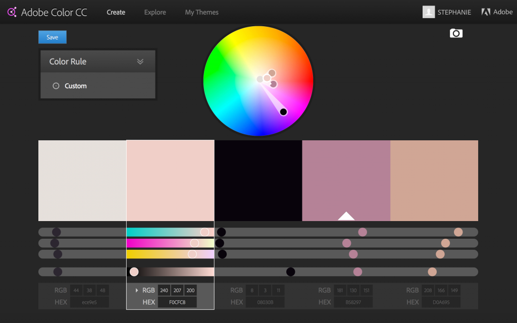 Custom Adobe Color Wheel Color Palette