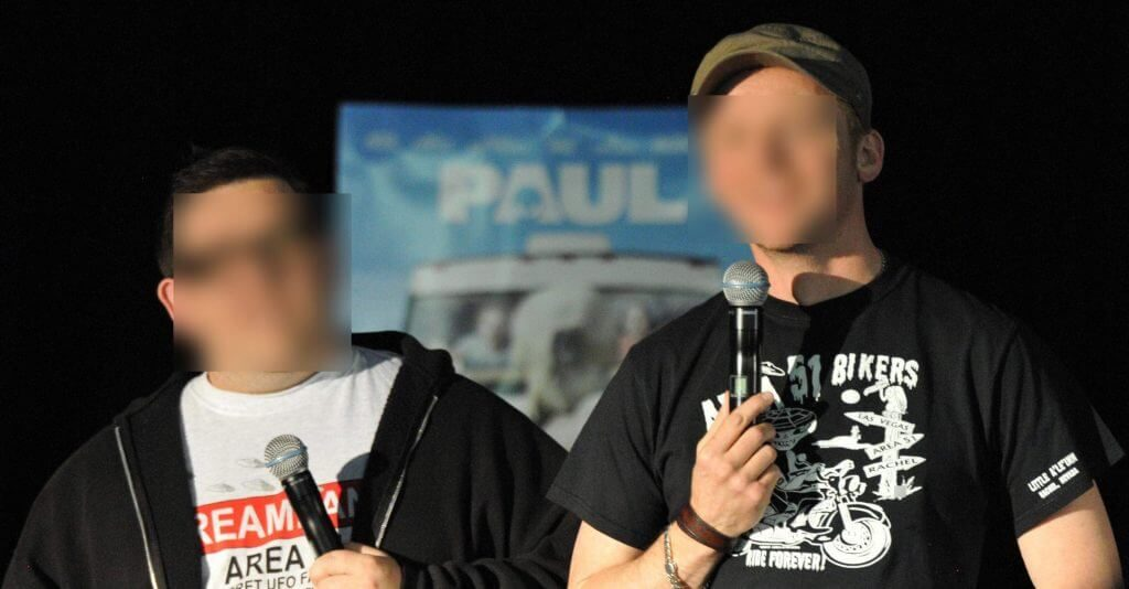 Simon Pegg and Nick Frost faces blurred