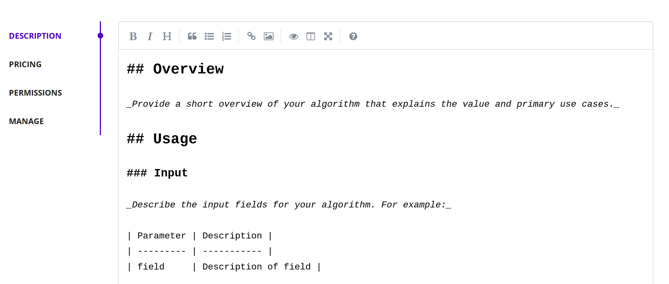 New Markdown Editor for Algorithm Descriptions