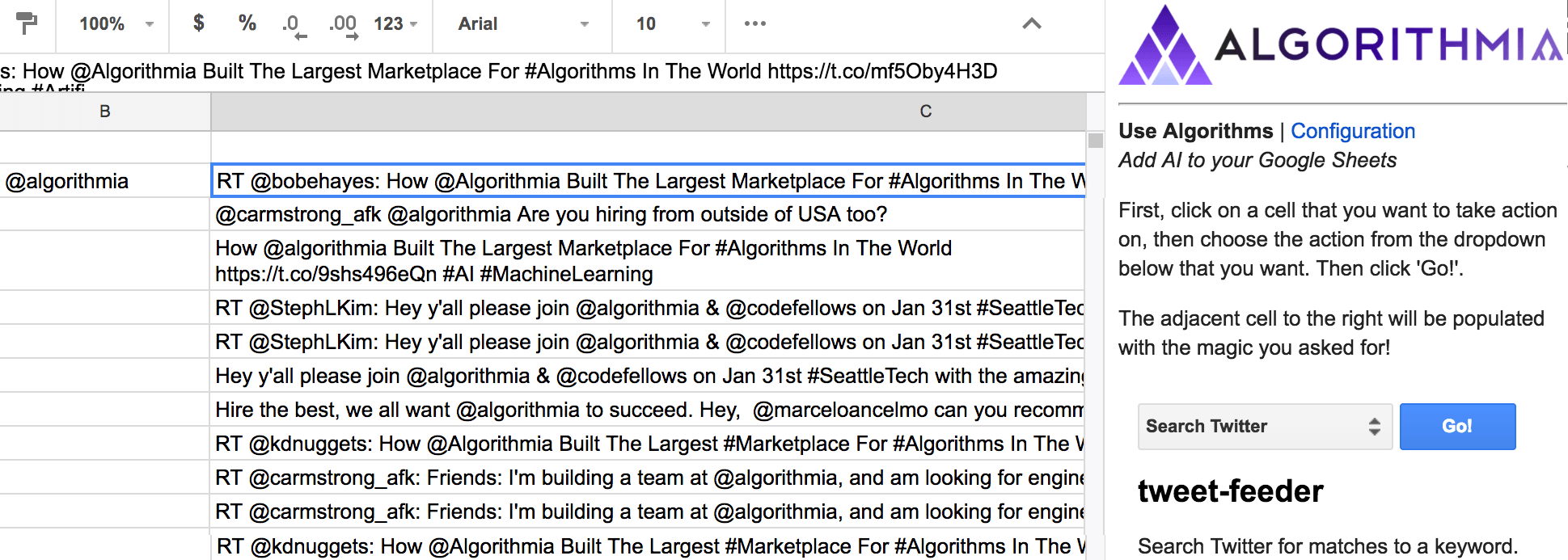 google sheets ai algorithmia blog