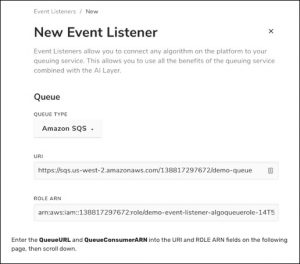Screenshot from Algorithmia platform of Event Listeners