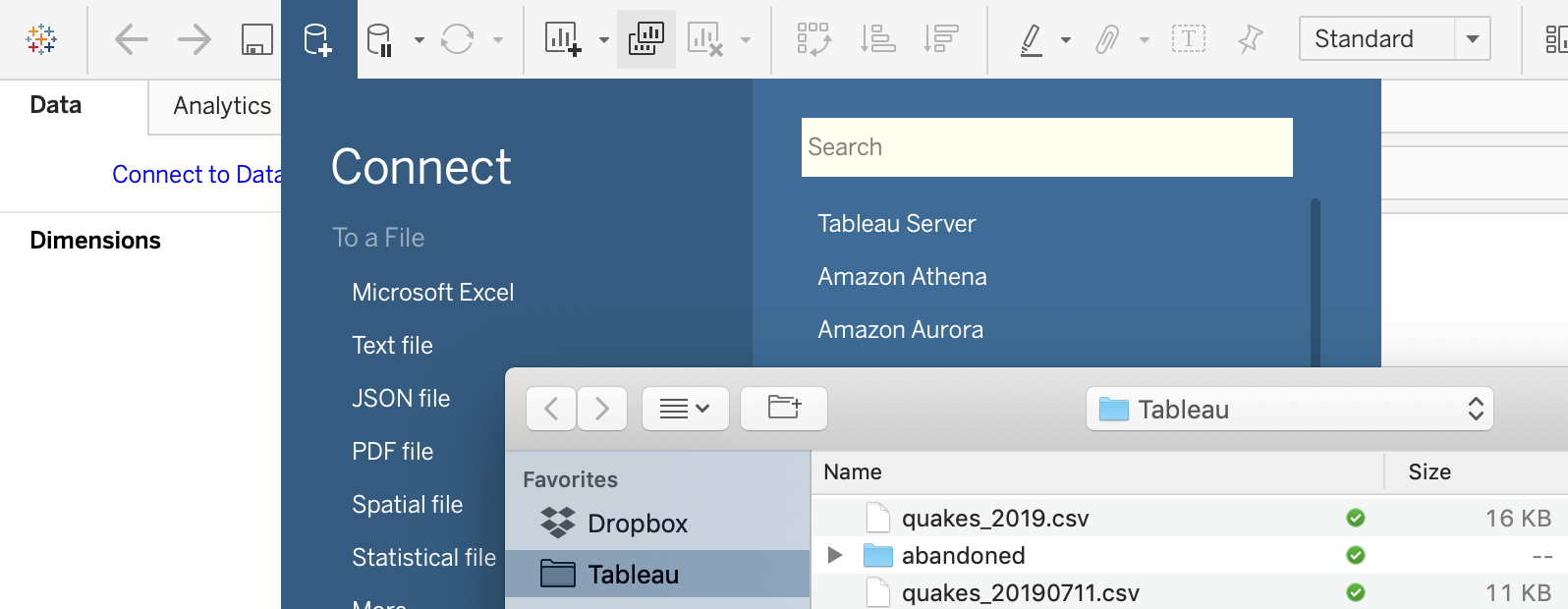 Connect data source in Tableau