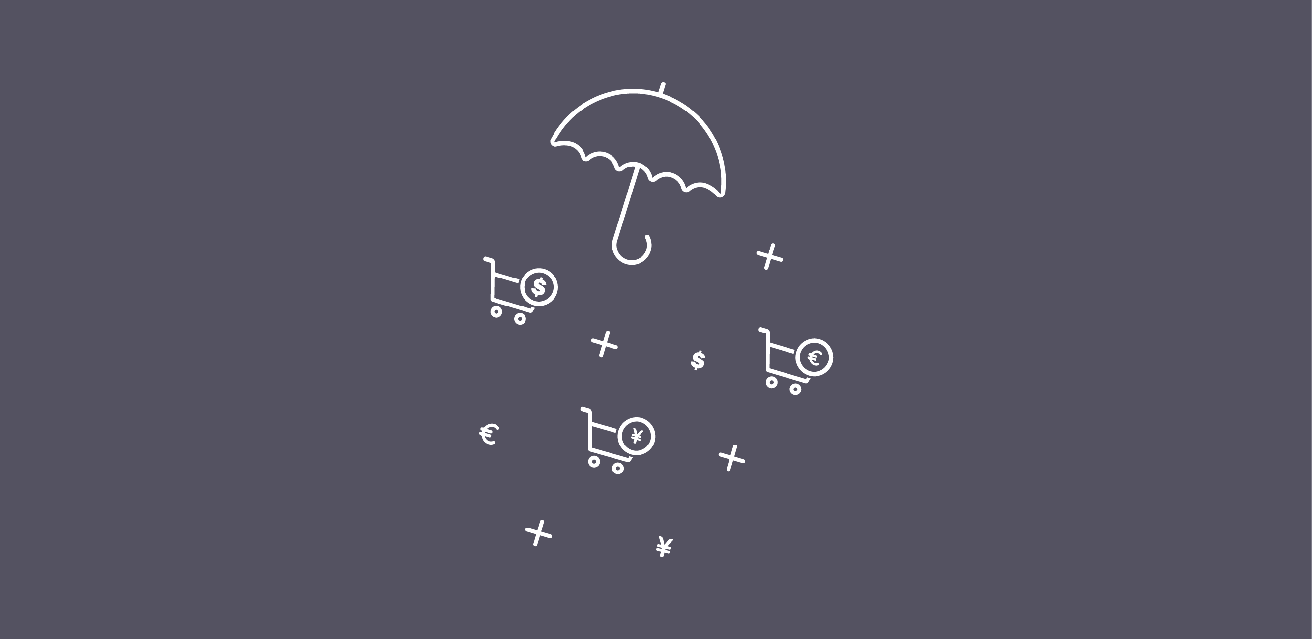 Umbrella with figurative raindrops of currency symbols, shopping carts, and plus signs