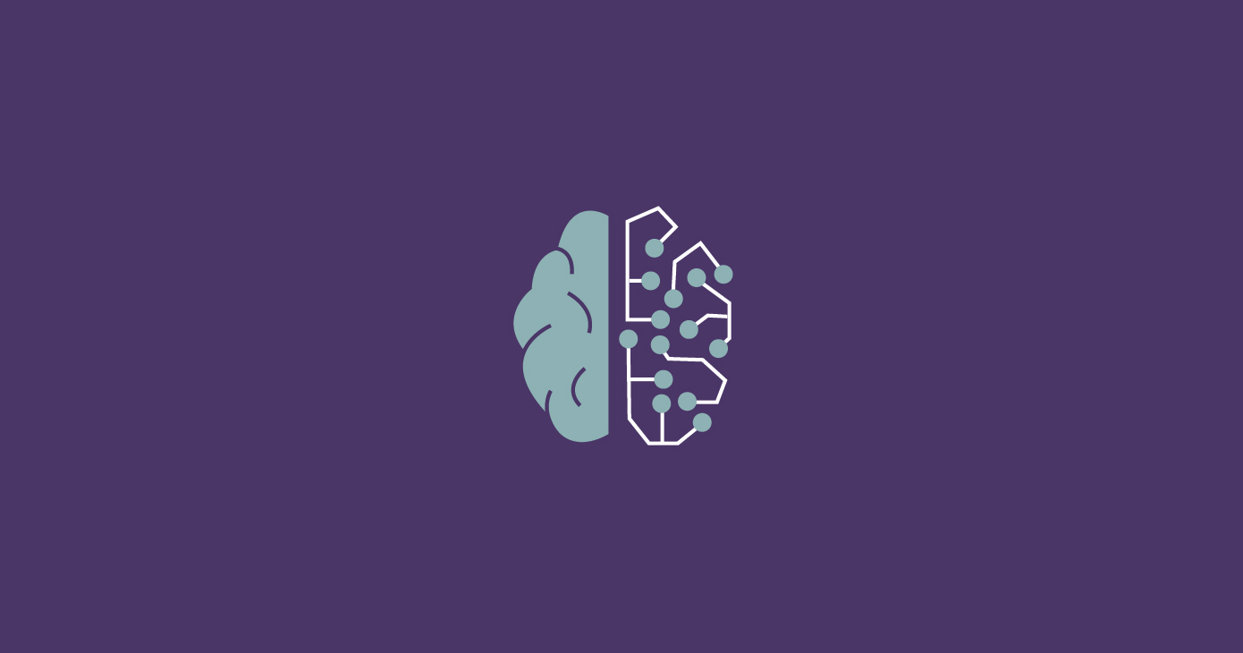A brain with two segments, one like a neural network drawing
