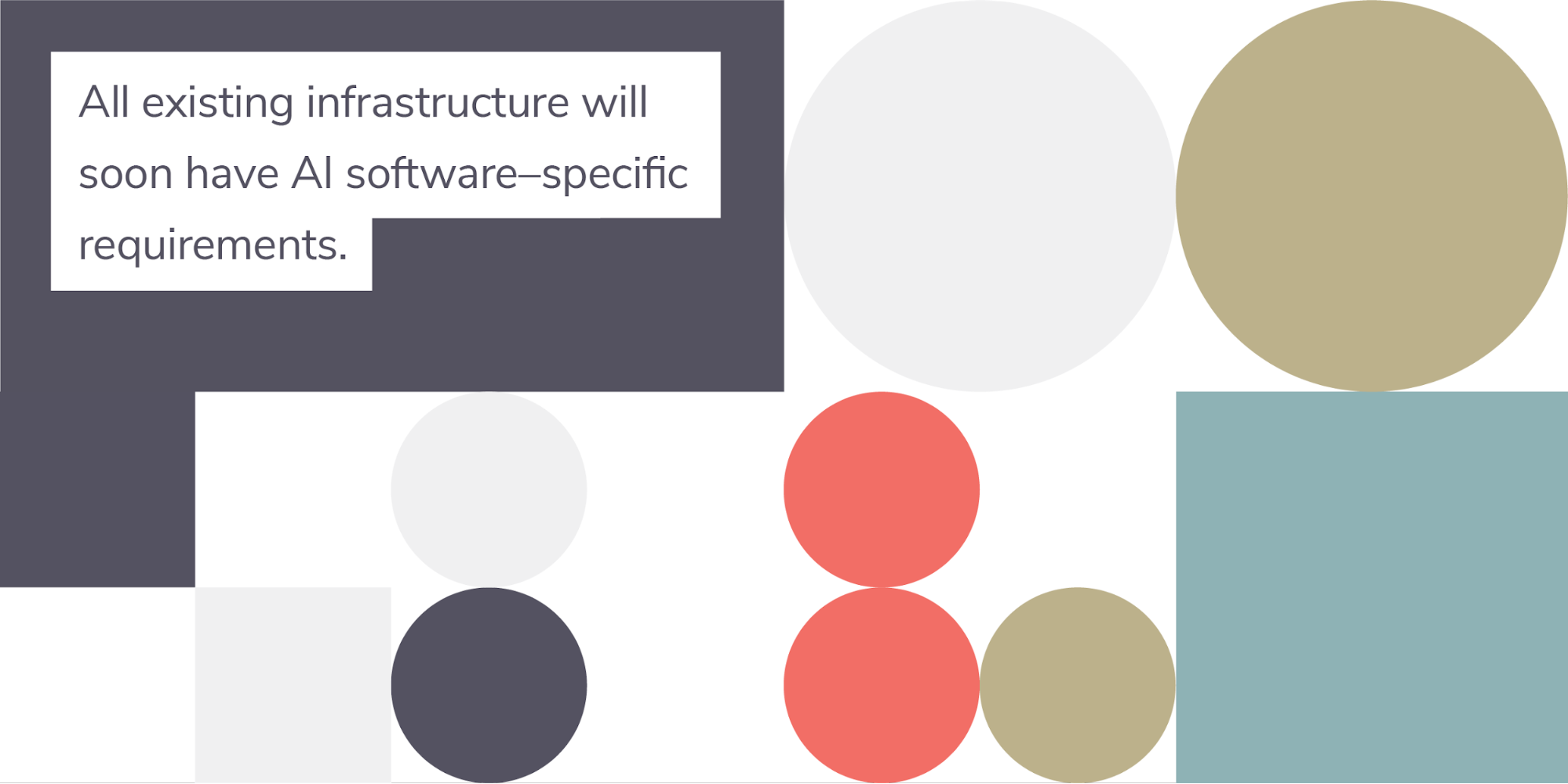 "colorful shapes on a white background with the text ""All existing infrastructure will soon have AI software-specific requirements."