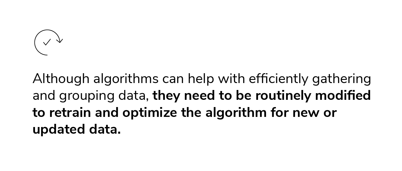 Although algorithms can help with efficiently gathering and grouping data, they need to be routinely modified to retrain and optimize the algorithm for new or updated data.