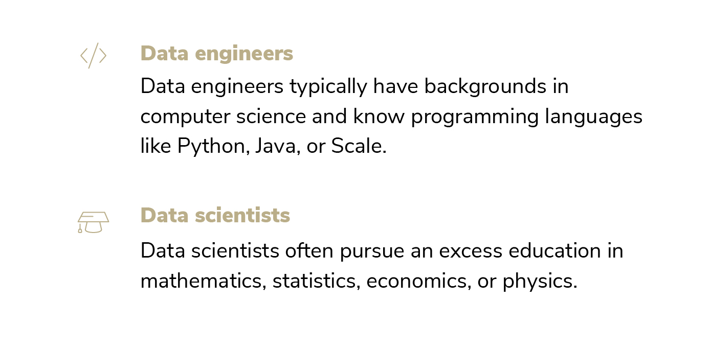 Differences between data scientists and data engineers