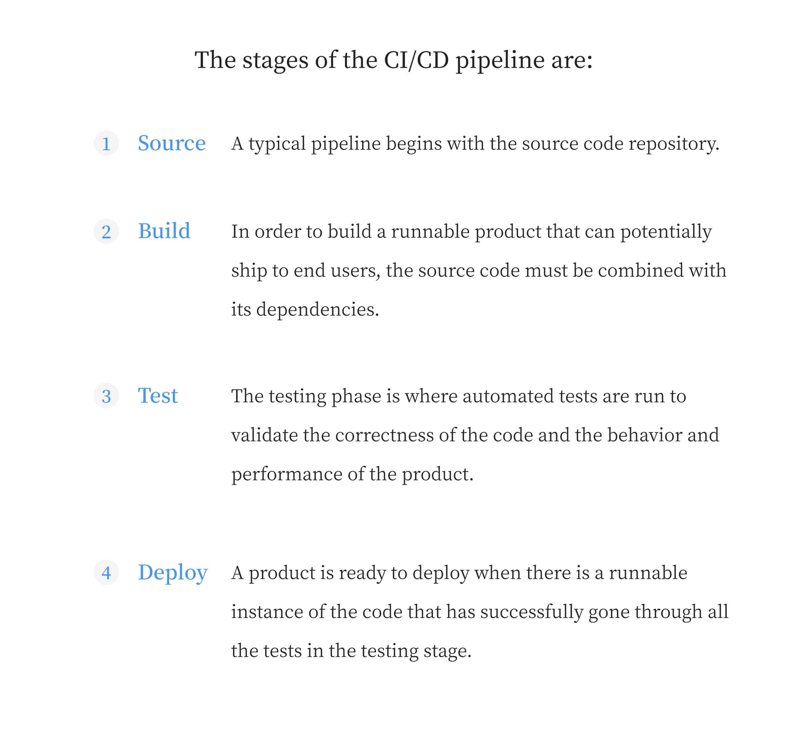 The stages of the CI/CD pipeline are: Source, Build, Test, Deploy