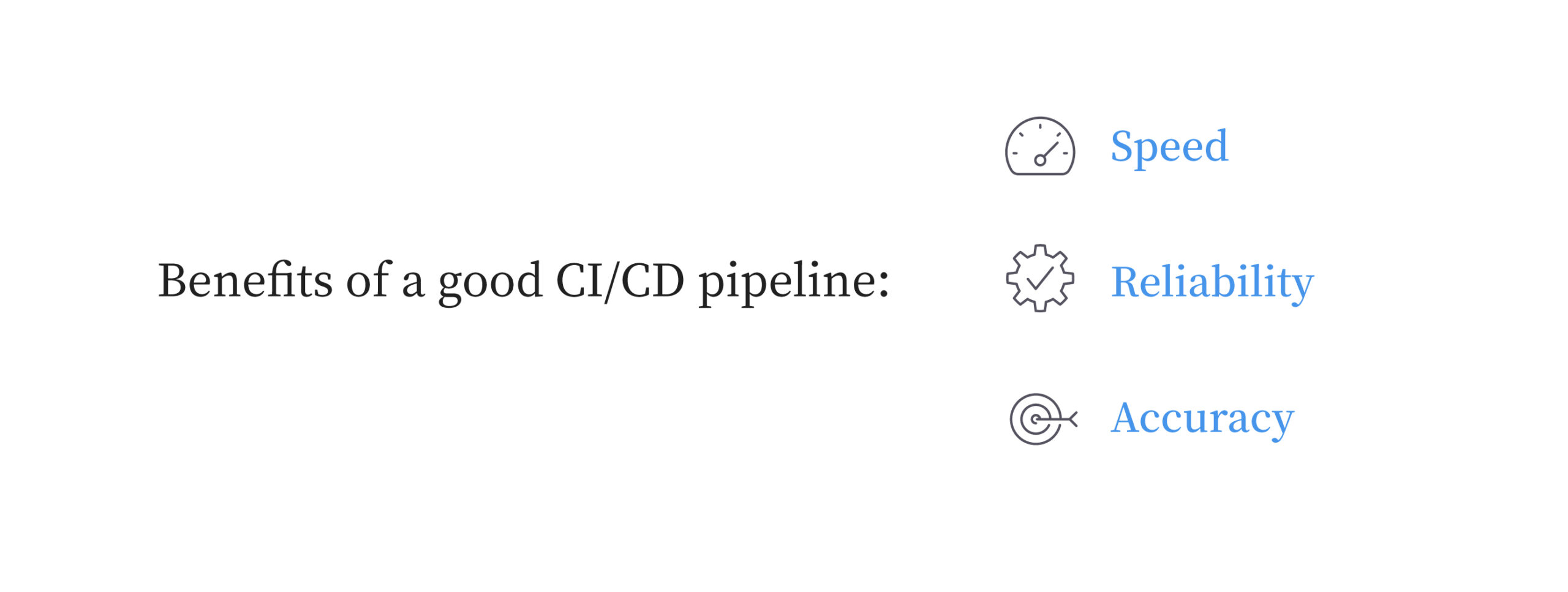 Benefits of a good CI/CD pipeline are speed, reliability, and accuracy.
