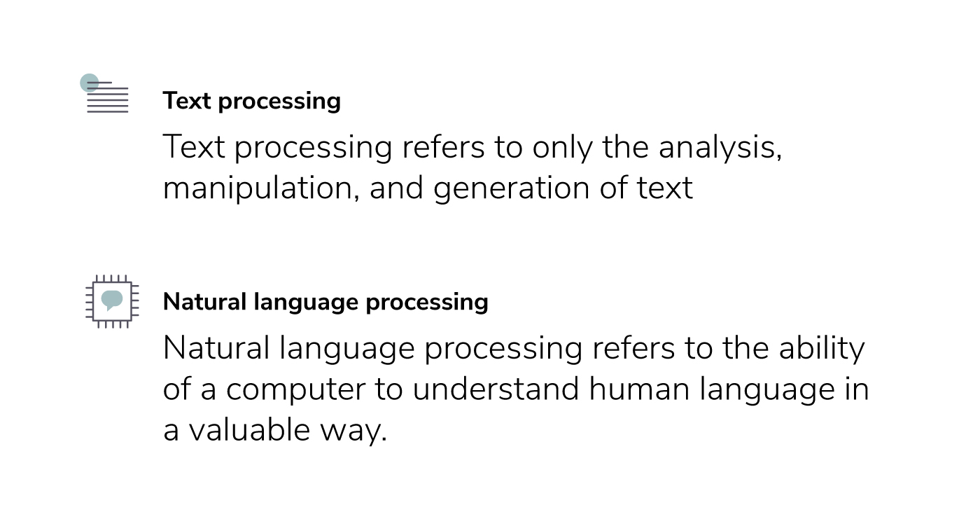 text processing compared to natural language processing