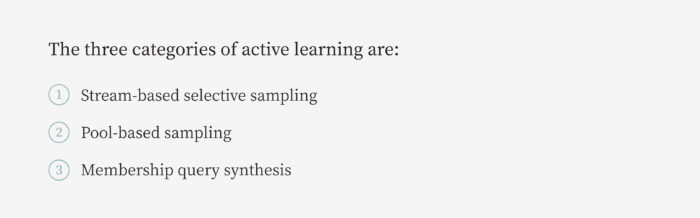 Three Categories of Active Learning