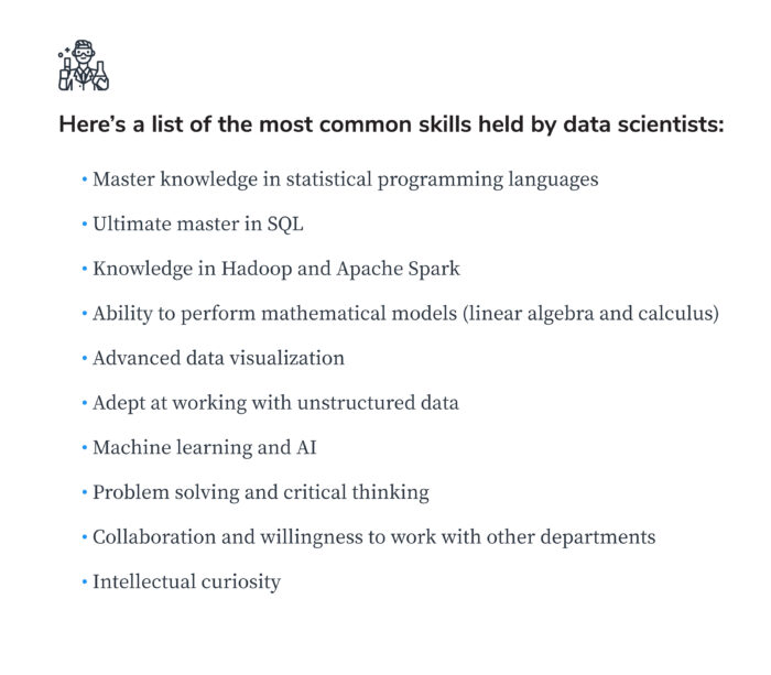 most common data scientist skills