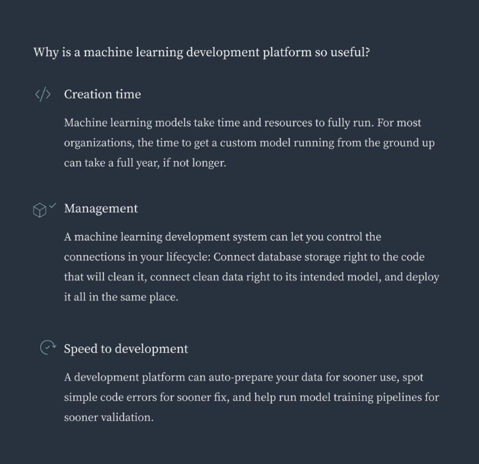 Why is machine learning development useful