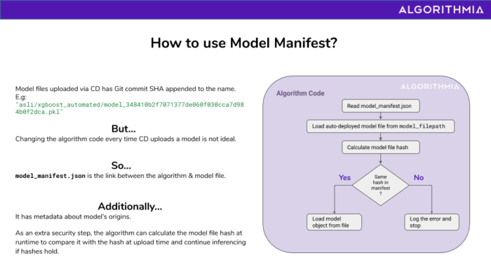 Diagram showing how to use the model manifest