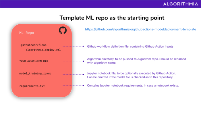 Diagram showing what the template repo contains