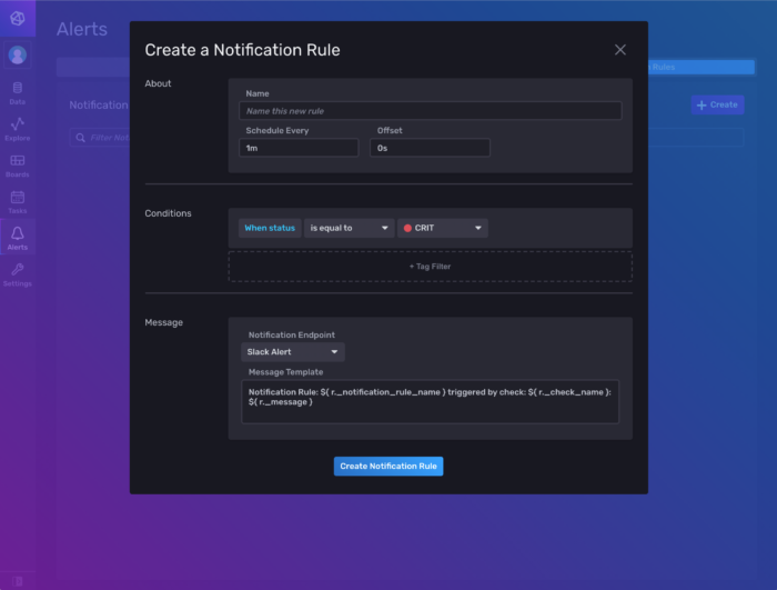 Picture of clicking the Create Notification Rule button in InfluxDB
