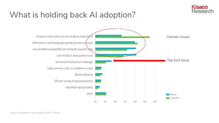 Chart showing the top challenges to enterprise AI adoption