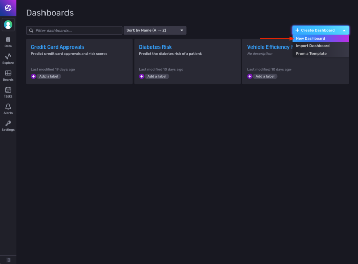 Picture of a new dashboard in InfluxDB