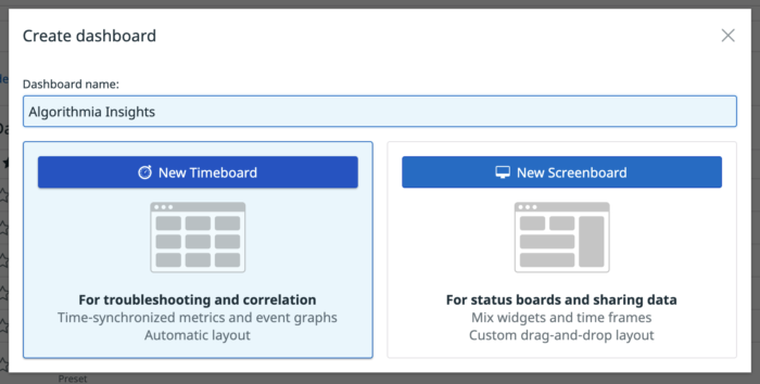 Picture of clicking on the New Timeboard button