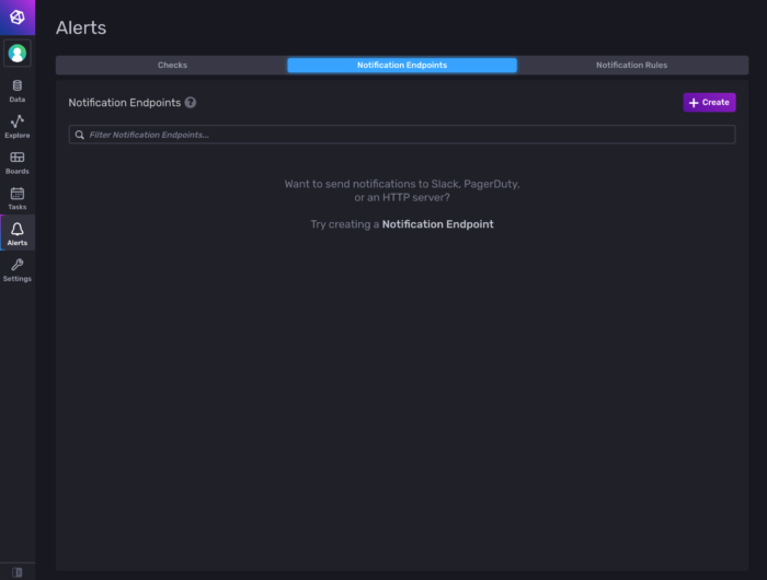 Picture of the Notification Endpoints tab in InfluxDB