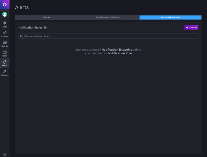 Picture of the Notification Rules tab in InfluxDB