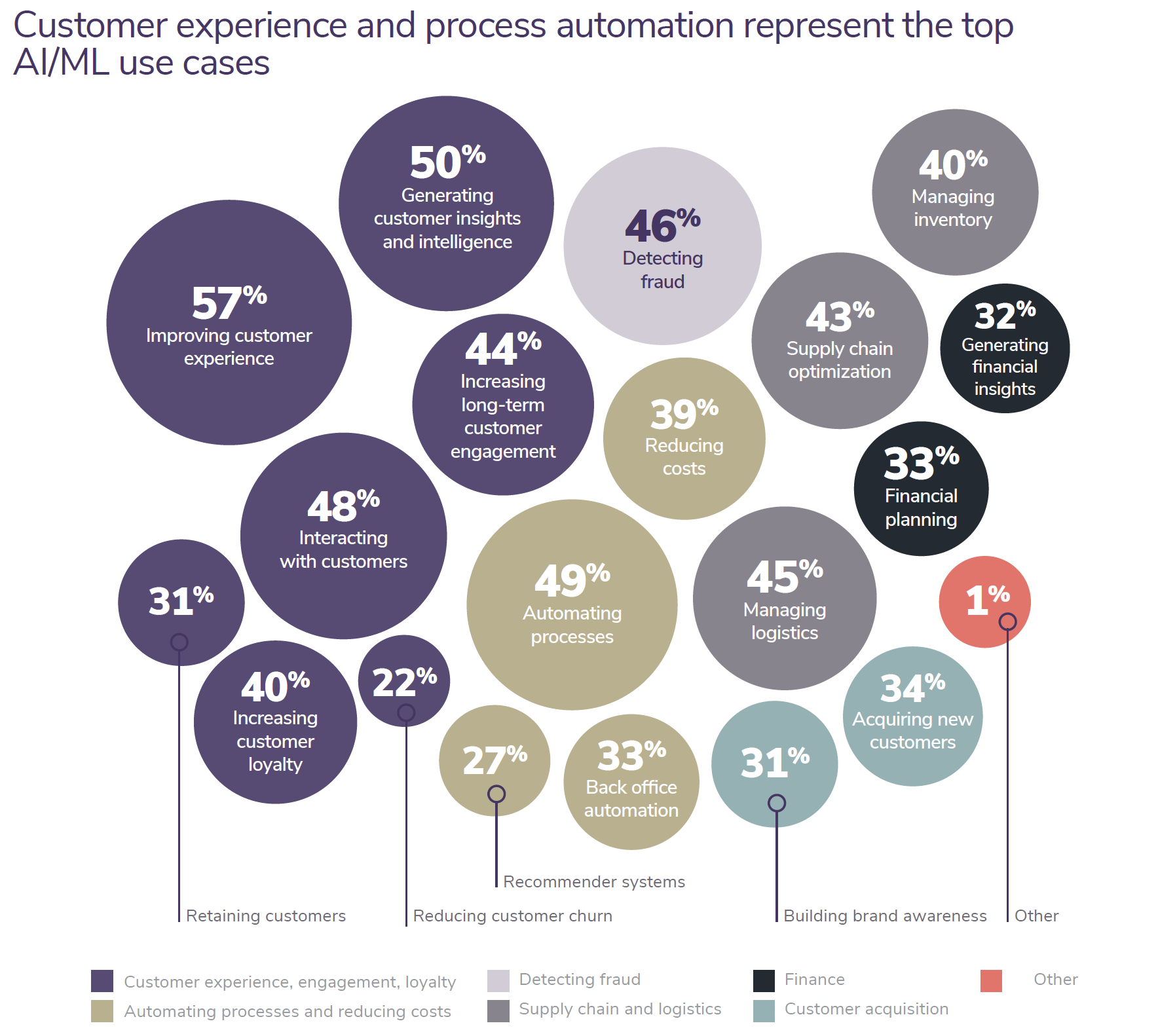Customer experience and process automation represent the top AI/ML use cases