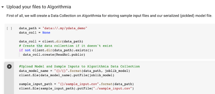Initialize Algorithmia client and upload the serialized model files